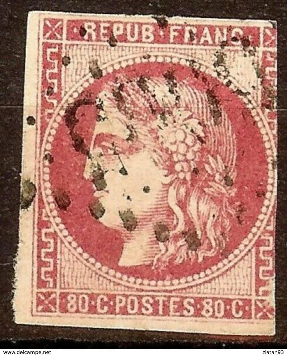 EXTRA BORDEAUX N°49b 80c Rose Vif Oblitéré Losange GC Cote 350 Euro PAS AMINCI - 1870 Emission De Bordeaux