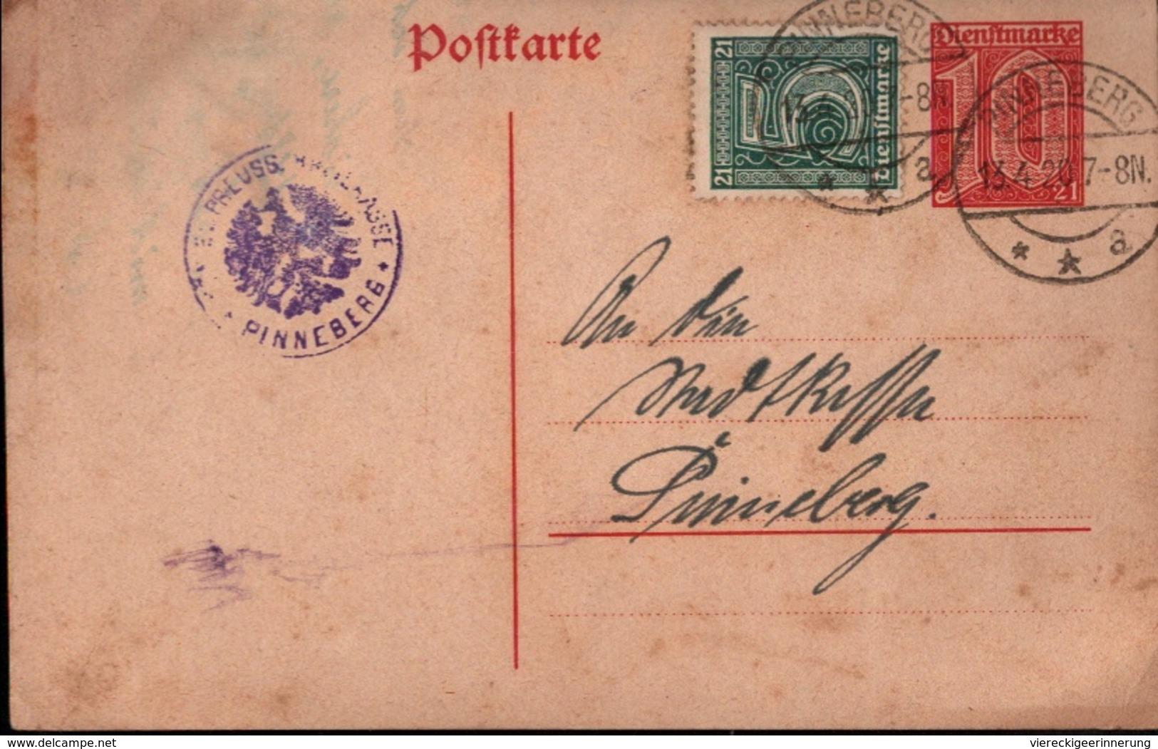 !  Ganzsache Dienstpost DP4, Deutsches Reich, Pinneberg, 1920, Ortspostkarte - Dienstpost