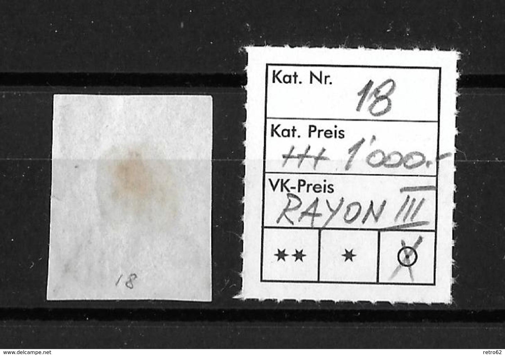 1852 RAYON III → Kleine Wertziffer SBK-18 / Guter Schnitt Mit Schwarzer Raute - 1843-1852 Kantonalmarken Und Bundesmarken