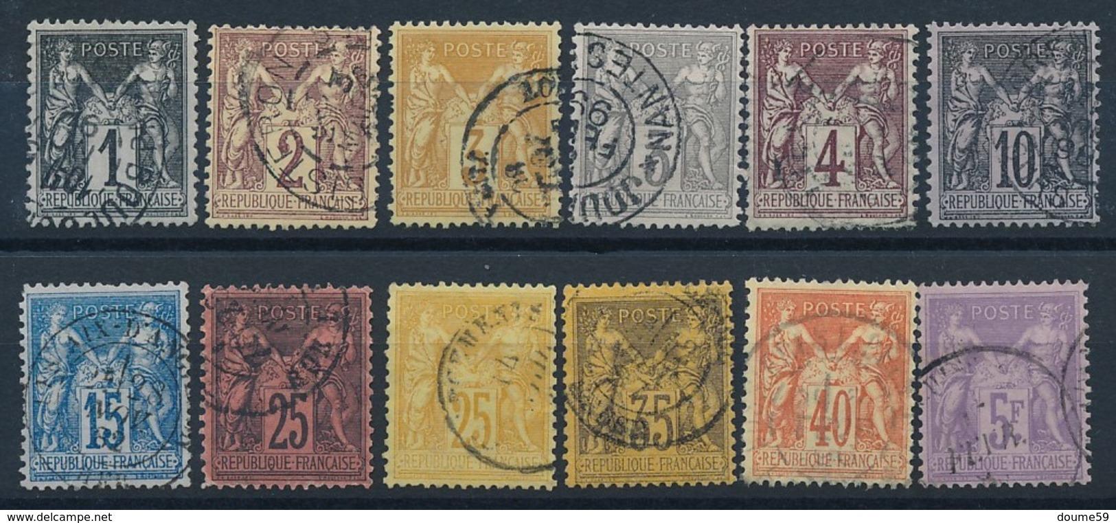 "CV-194: FRANCE: Lot ""SAGE""  N°83/95 (sauf 84) - 1876-1898 Sage (Type II)"