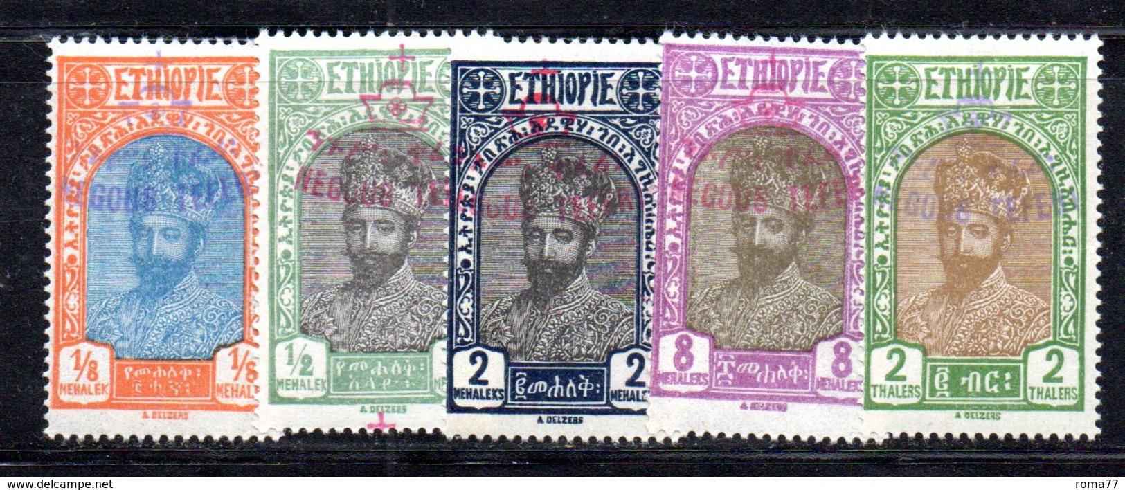 ETP133 - ETIOPIA 1928 , Serie Yvert N. 166/170  *  Linguella  (2380A).  Ras Tafari - Ethiopie