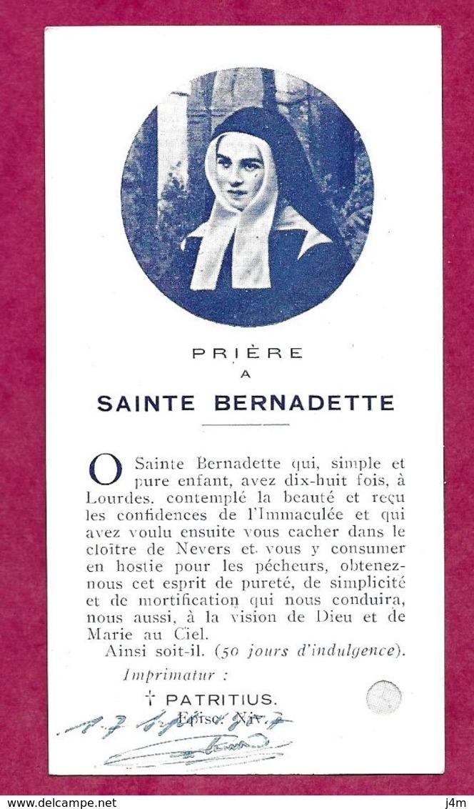 IMAGE PIEUSE Avec RELIQUAIRE ..ETOFFE Ayant Touché à SAINTE BERNADETTE De SOUBIROUS...2 Scans - Imágenes Religiosas