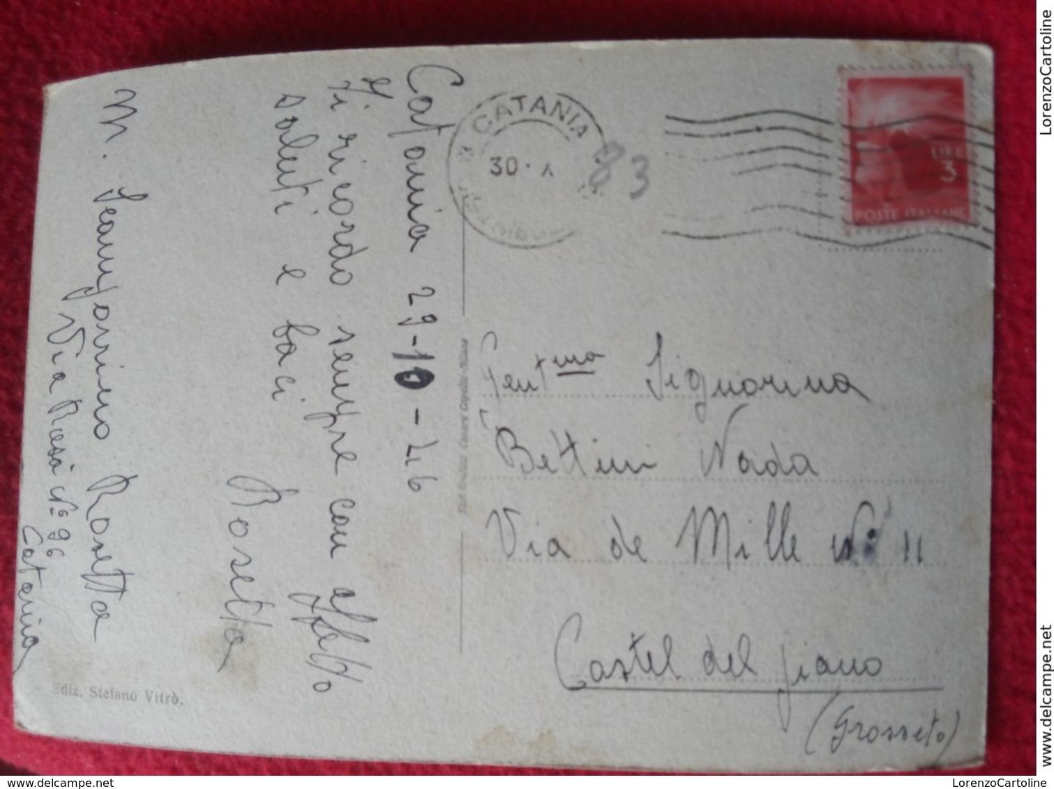 Catania Villa Bellini Ingresso Principale Cartolina VIAGGIATA 1946 - Catania