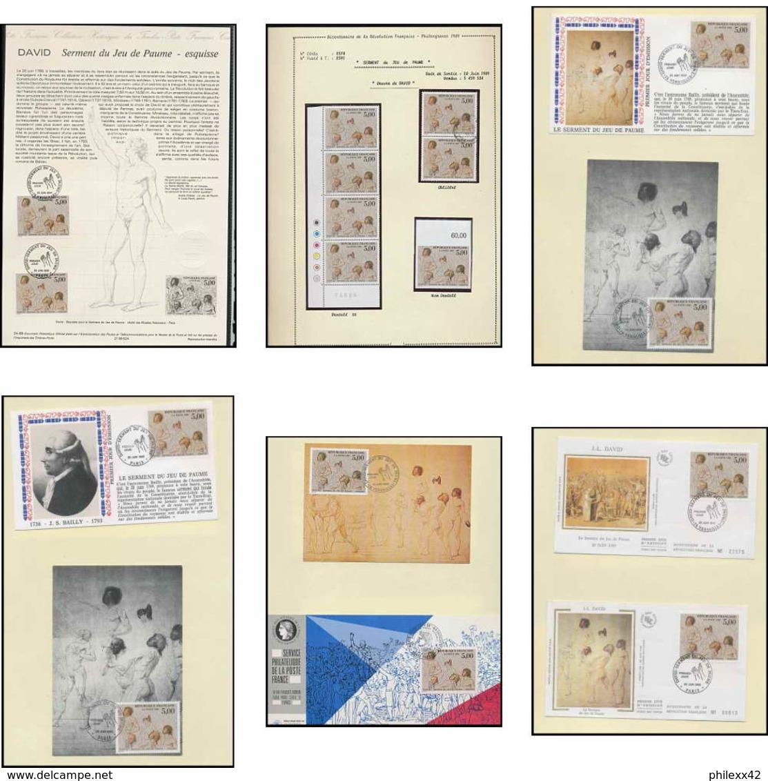 355 France Bicentenaire Révolution Francaise Lot N°2591 Tableau Paintings David Non Dentelé ** (imperforate) + Fdc Maxi - France