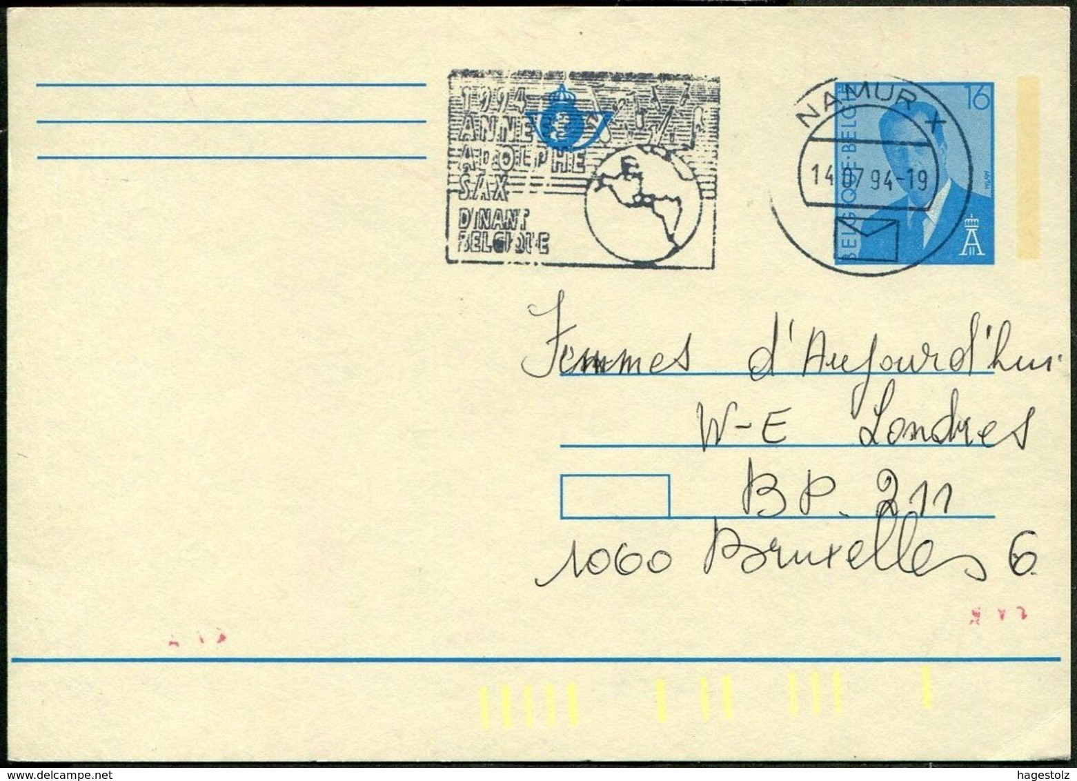 MUSIC Belgium 1994 Namur Card Adolphe Sax Dinant Saxophone Slogan Pmk Werbestempel Flamme Musik Musique België Belgique - Muziek