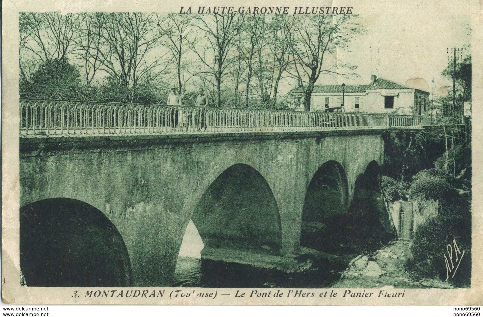 Lot 3 CPA 31 Montaudran Toulouse L'eglise 2 Differentes Et Pont De L'hers Et Le Panier Fleuri 1934 - Francia