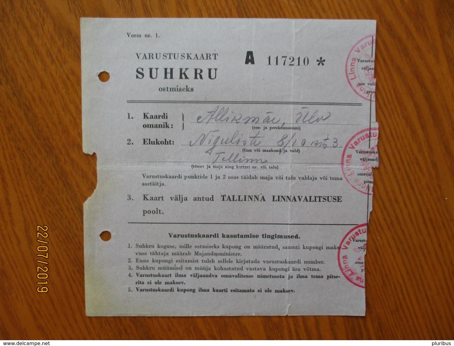 ESTONIA 1940 TALLINN RATION CARD SUGAR Lit.A   ,0 - Estland