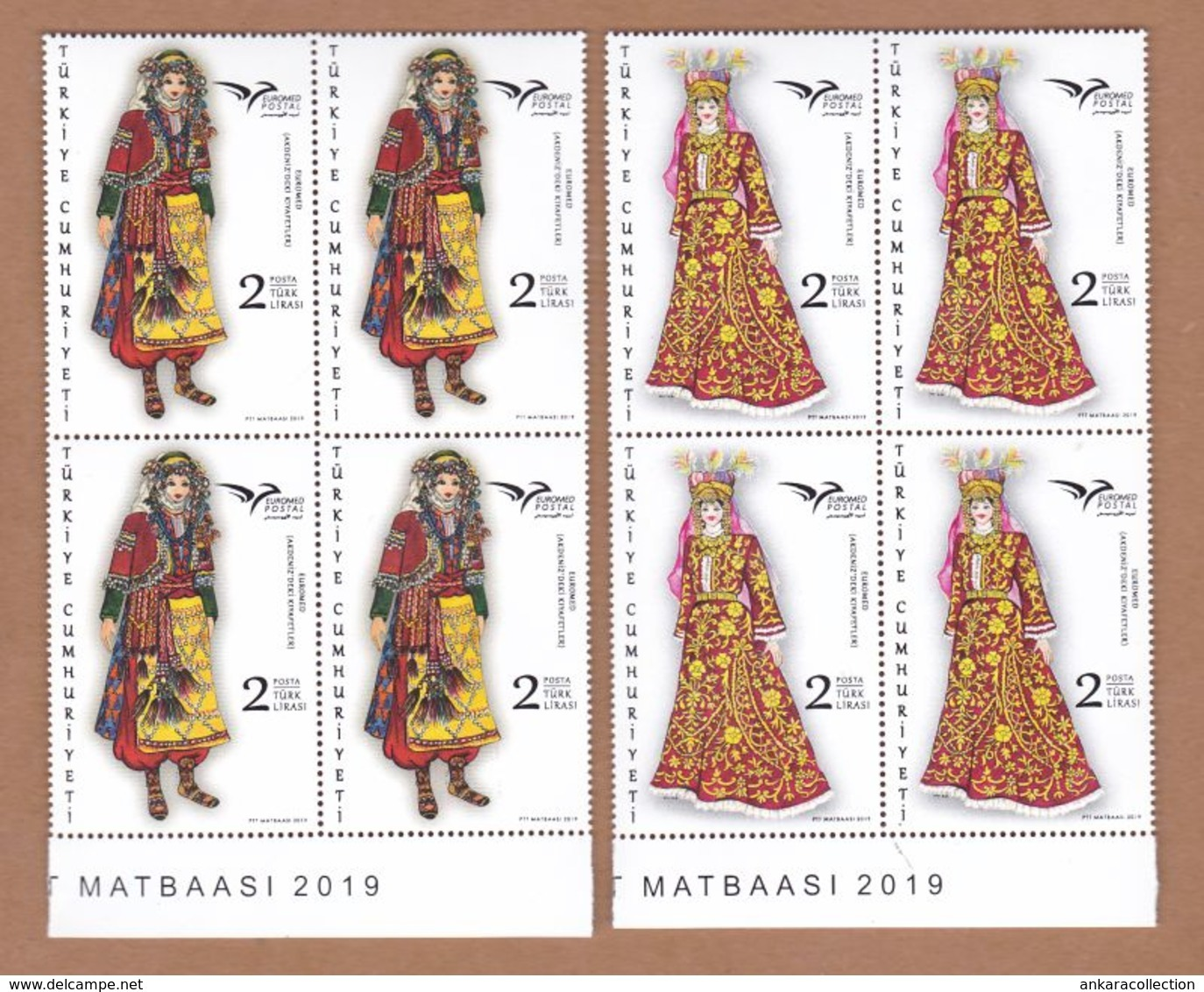AC - TURKEY STAMP - EUROMED COSTUMES USED IN MEDITERRANEAN MNH BLOCK OF FOUR 08 JUNE 2019 - 1921-... Republic