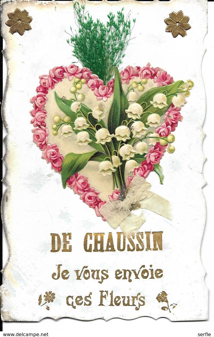 """39 - Chaussin - Carte Fantaisie """"De Chaussin, Jevous Envoie Ces Fleurs"""" - France"""