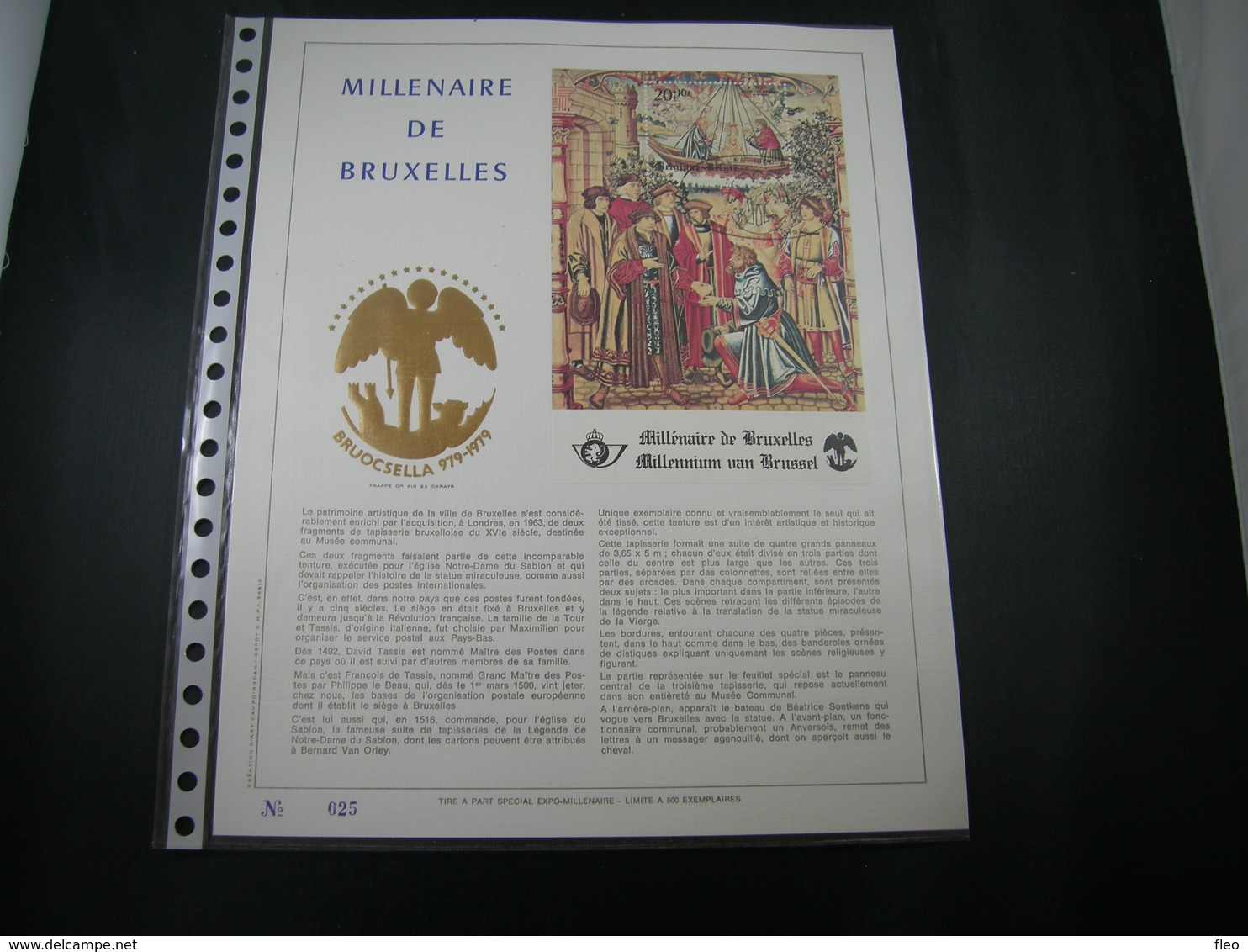 "BELG.1979 BL54 Filatelic Gold Card FR. : "" MILLENAIRE DE BRUXELLES "" - FDC"