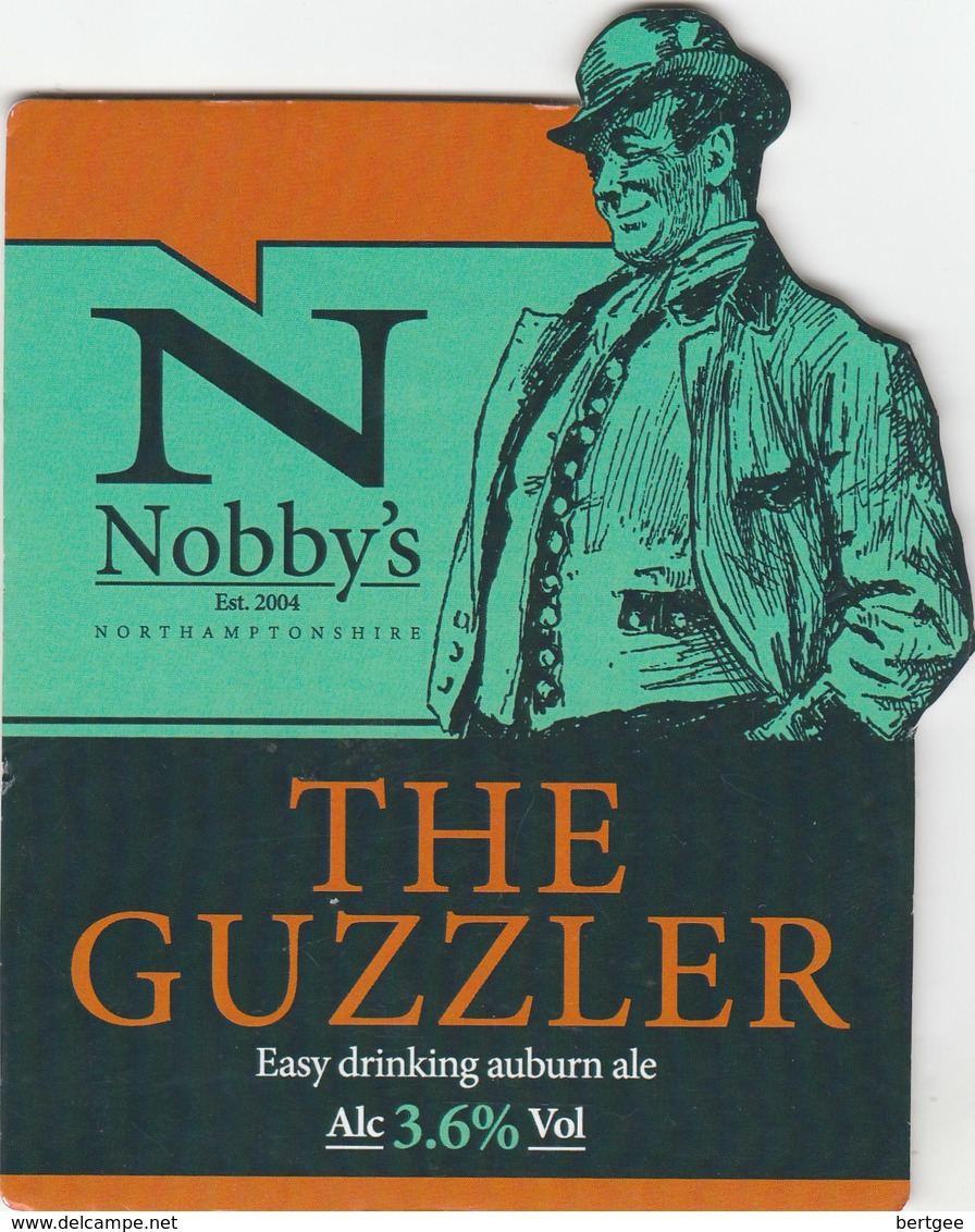 NOBBY'S BREWERY (KETTERING, ENGLAND) - THE GUZZLER - PUMP CLIP FRONT - Uithangborden