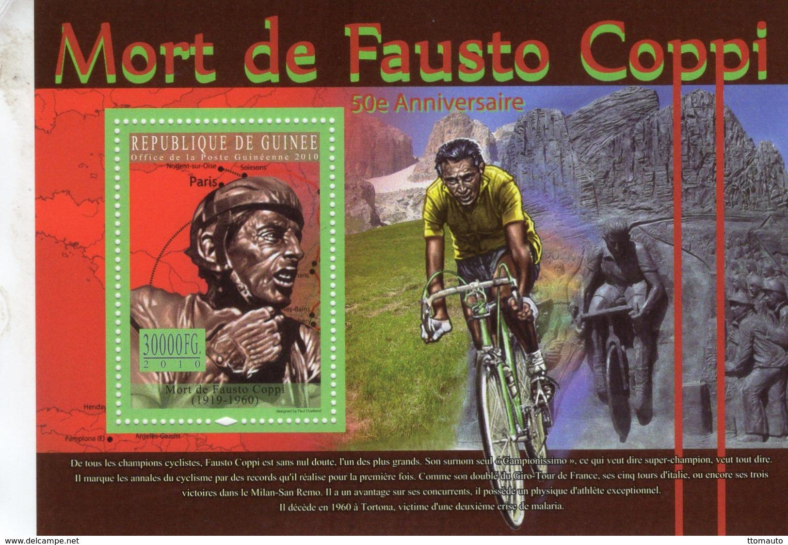 Mort De Fausto Coppi  -  Republique De Guinée 2010   -  1v Sheet - Neuf/Mint/MNH - Ciclismo