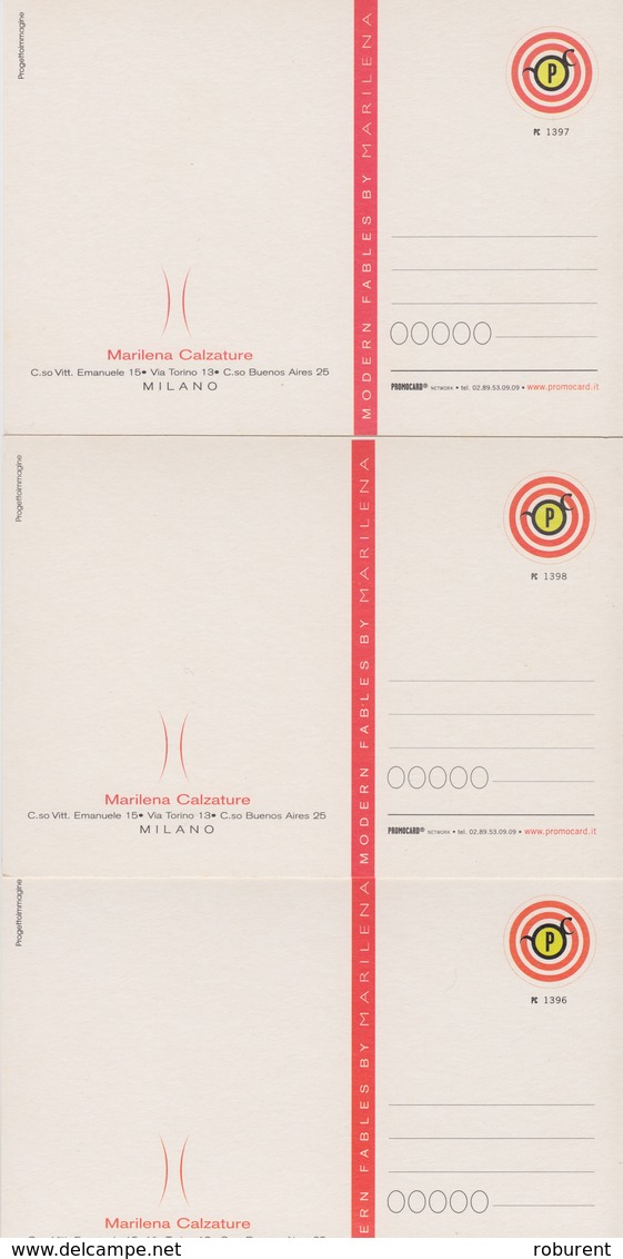 "CARTOLINA -PROMOCARD SERIE DI TRE CARTOLINE 1396-1397-1398 - ""MODERN FABLES BYMARILENA"" - CALZATURE - Pubblicitari"