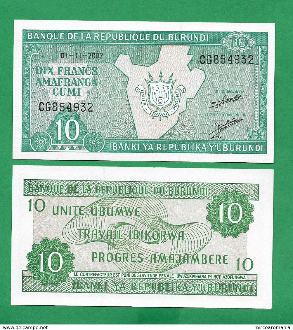 BURUNDI - 10 FRANCS – 2007 -  UNC - Burundi