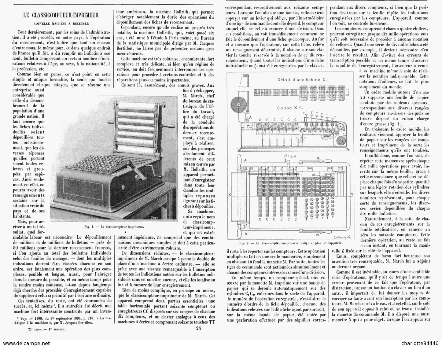 LE CLASSICOMPTEUR-IMPRIMEUR   1901 - Technical
