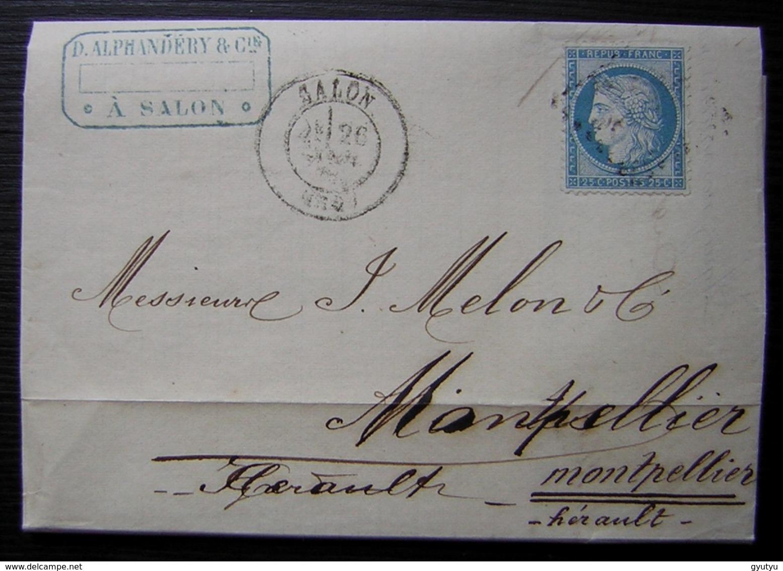 Salon 1875 D. Alphandéry Lettre Pour Montpellier - Storia Postale