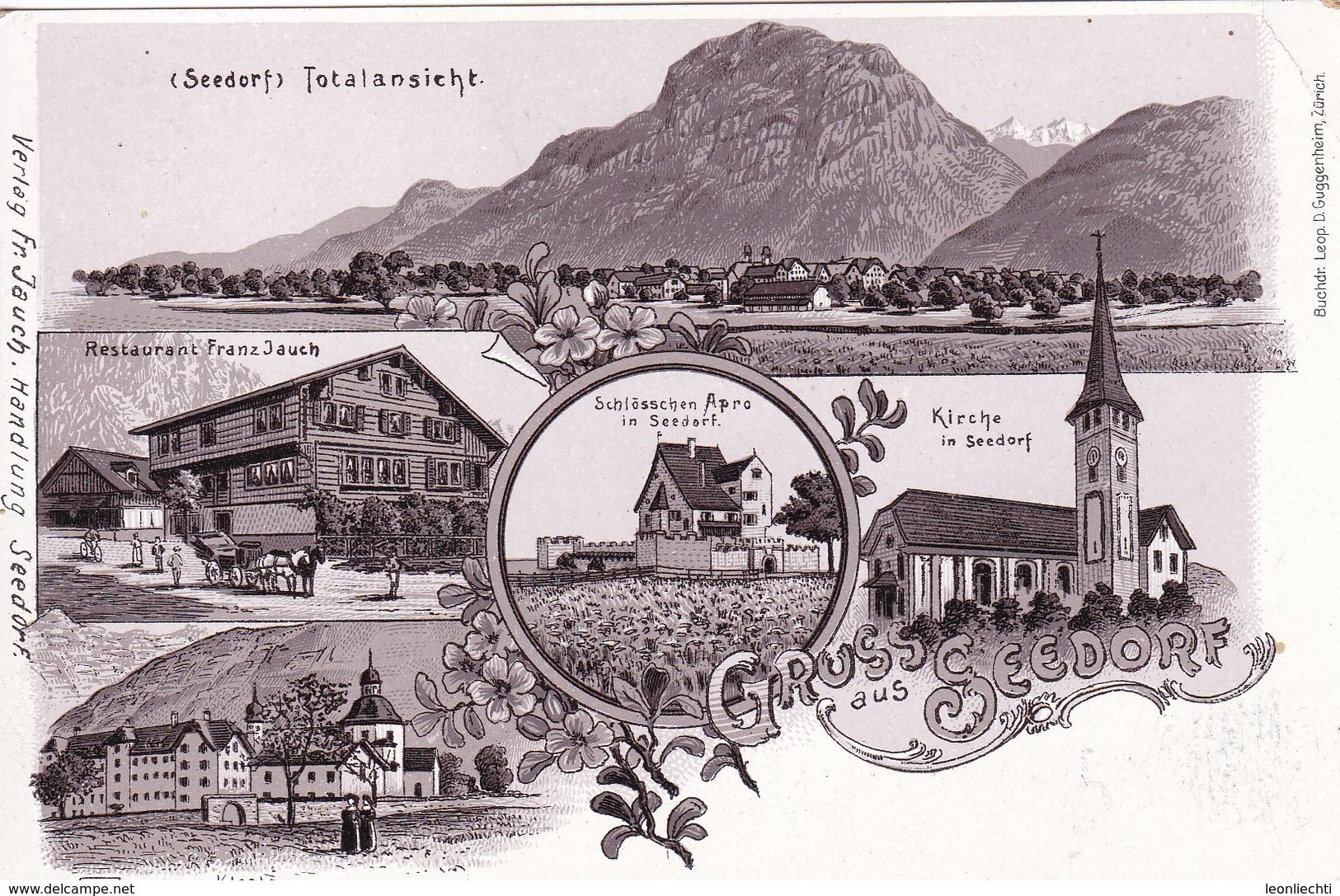 **  Carte Postale - Postkarte - Weltpostverein. Seedorf BE, Restaurant: Franz Jauch U. Schlösschen Apro - AR Appenzell Outer-Rhodes