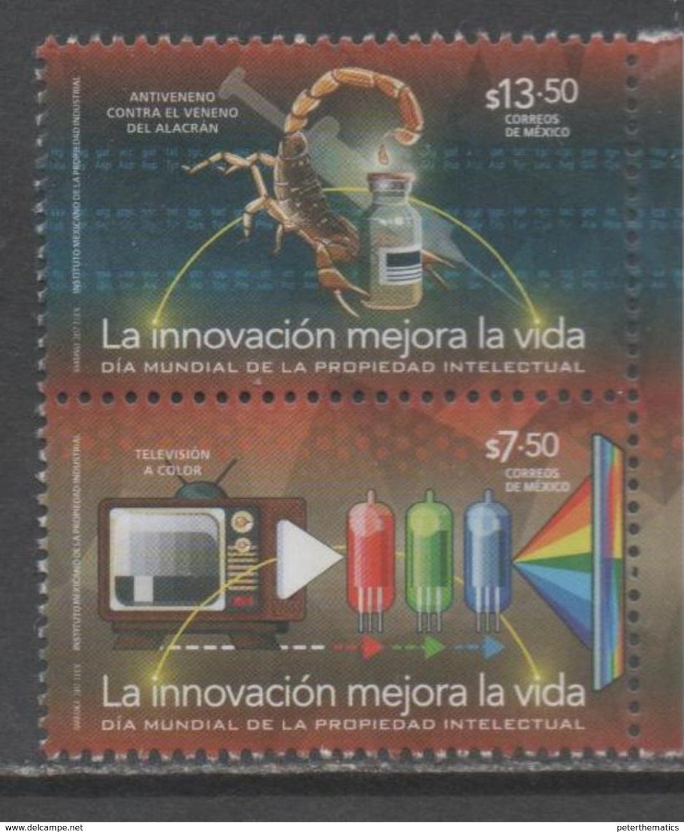 MEXICO  ,2017, MNH, INTELLECTUAL PROPERTY, INNOVATION, SCORPIONS, ANTI-VENOM, TV, 2v - Altri