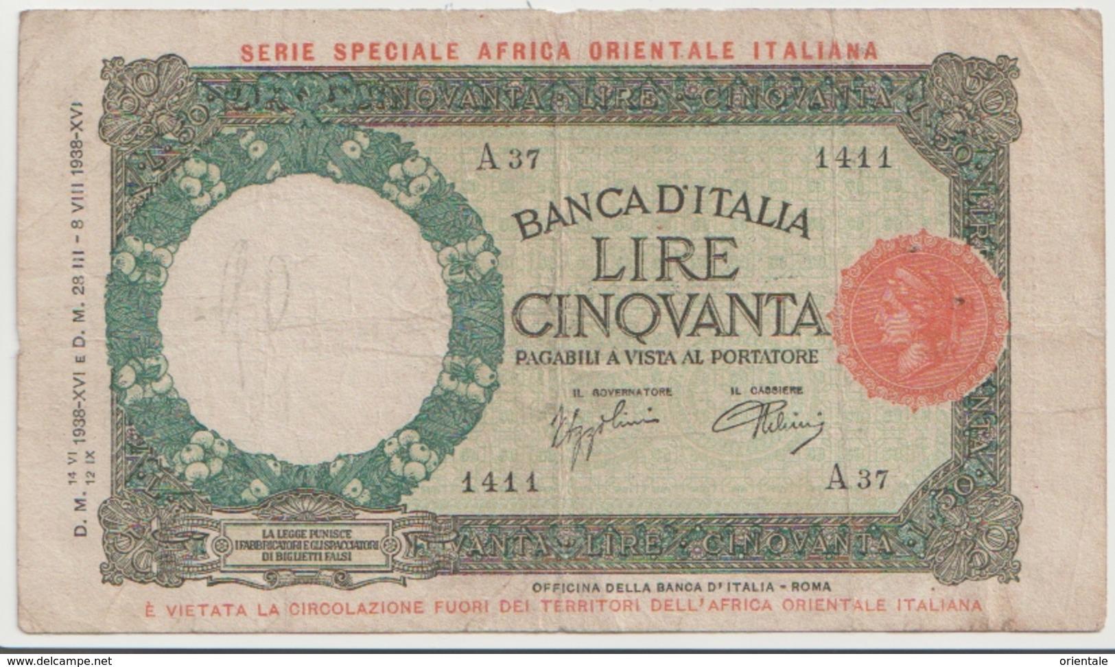 ITALIAN EAST AFRICA P. 1a 50 L 1938 VF - [ 6] Colonie