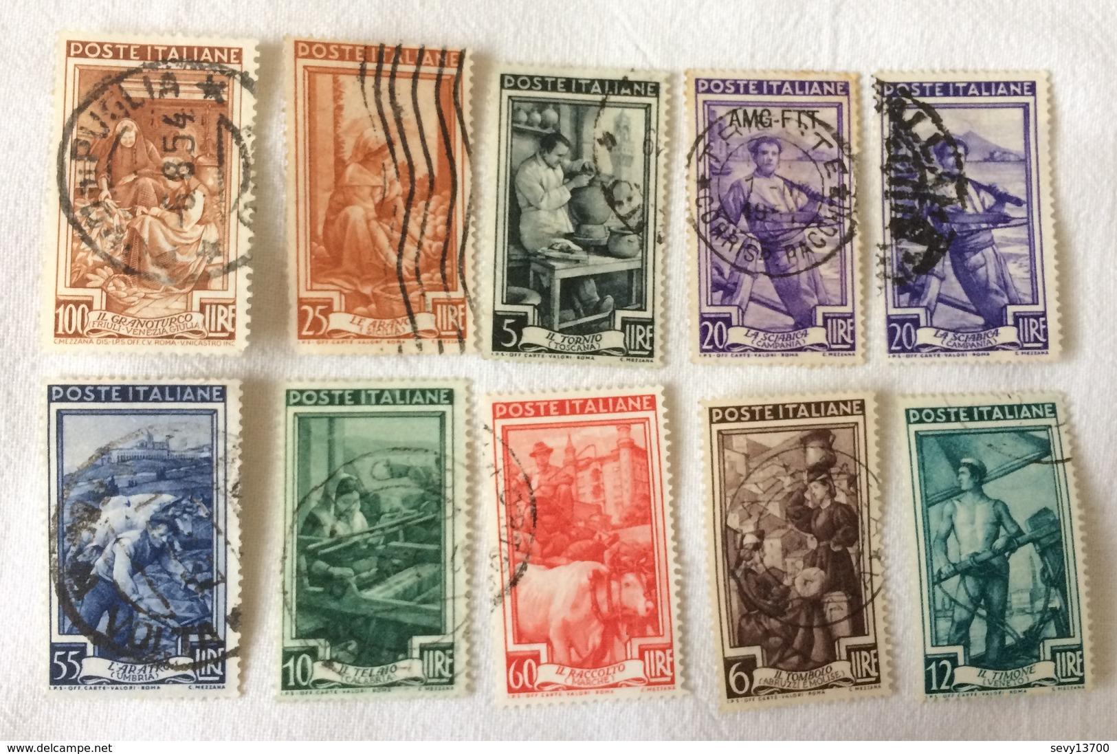 Italie - Lot De 10 Timbres Année 1950 - Mi IT 810 - 811 - 812 - 813 - 815 - 816 - 821 - 822 - 824 - 6. 1946-.. Republik