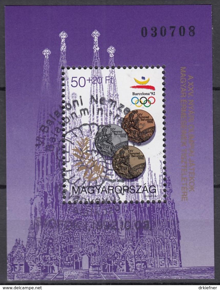 UNGARN Block 222 A, Gestempelt (Motiv Ammonit), Medaillengewinne Bei Den Olympischen Sommerspielen In Barcelona 1992 - Blocchi & Foglietti