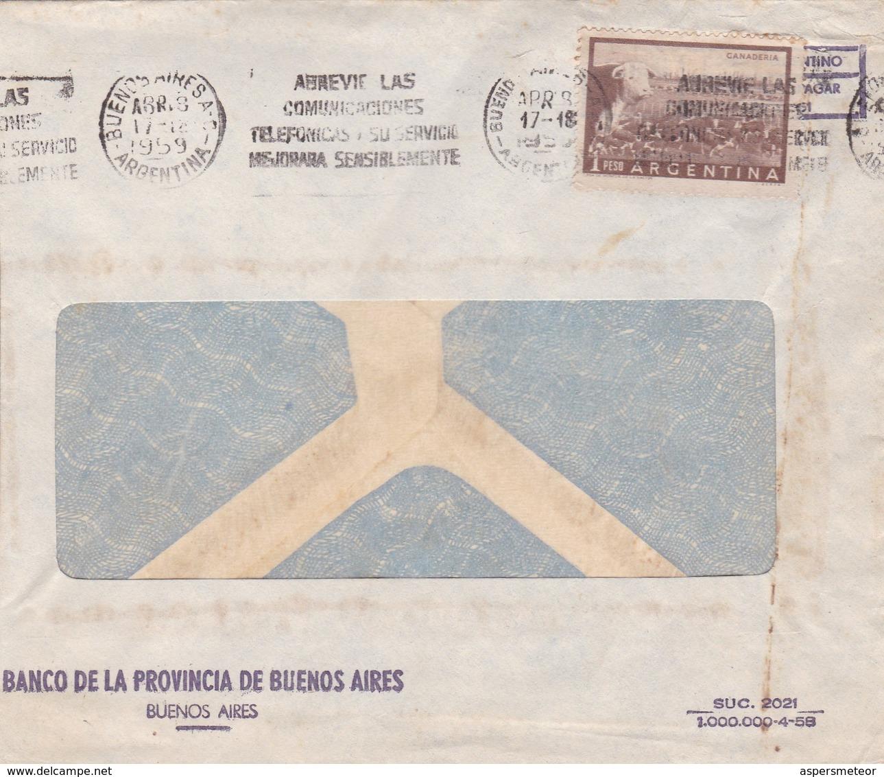 1959 ARGENTINE COMMERCIAL COVER-BANCO DE LA PROVINCIA DE BUENOS AIRES. CIRCULEE, BANDELETA PARLANTE- BLEUP - Lettres & Documents