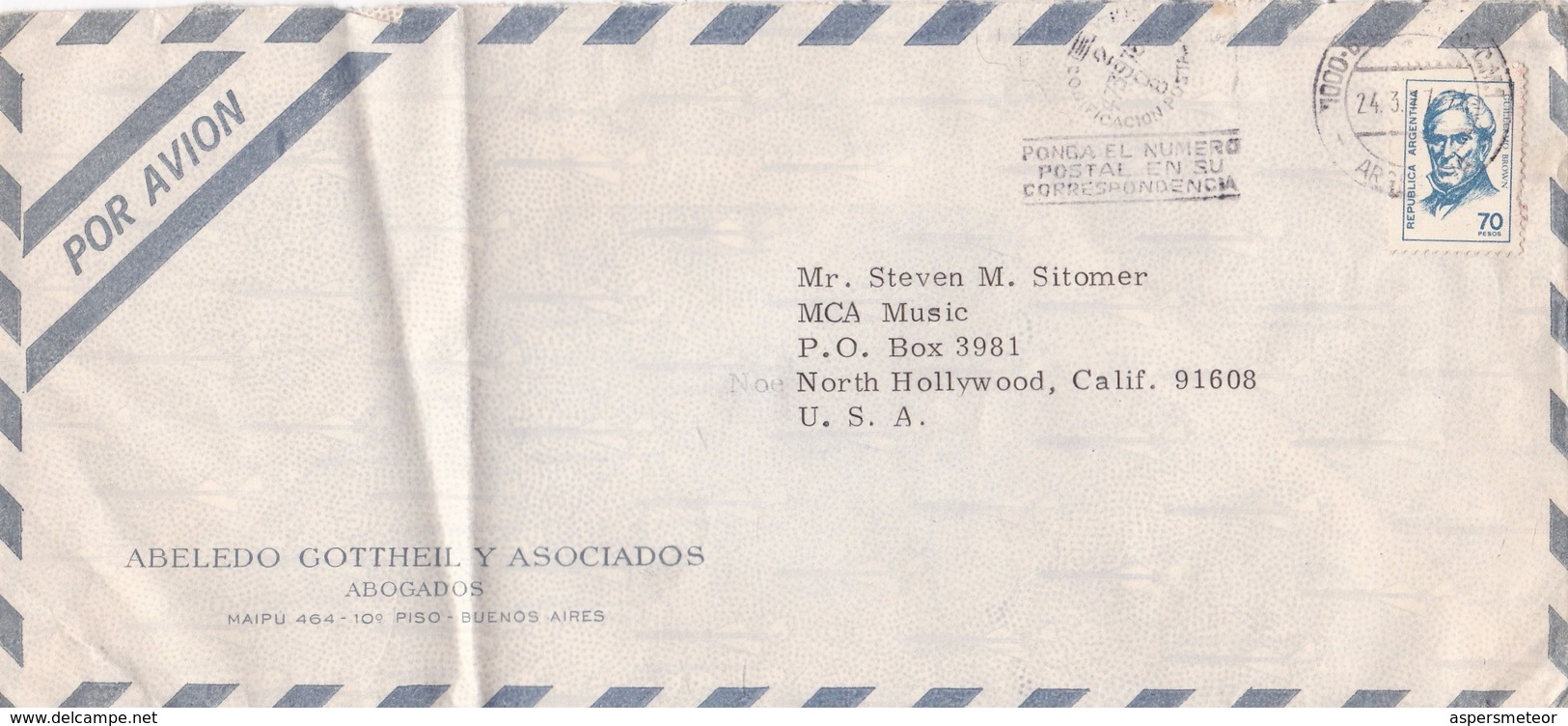 1977 ARGENTINE AIRMAIL COMMERCIAL-ABELEDO GOTTHEIL Y ASOC, ABOGADOS. CIRCULEE TO USA, BANDELETA PARLANTE- BLEUP - Argentina