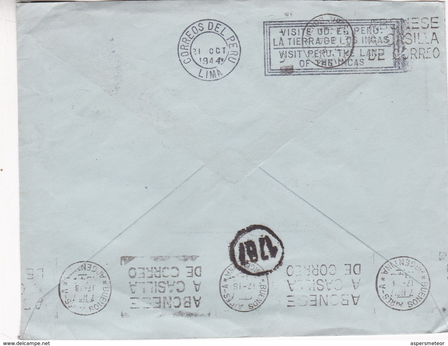 1940'S PERU COMMERCIAL COVER-BANCO DE CREDITO DEL PERU. CIRCULEE TO ARGENTINE, BANDELETA PARLANTE- BLEUP - Pérou