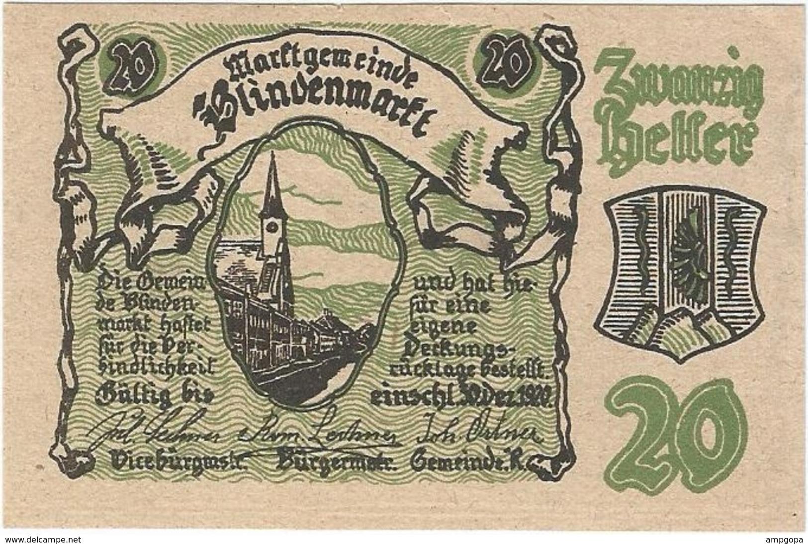 Austria (NOTGELD) 20 Heller 19-3-1920 Blindenmarkt KON 93 II.a.2 UNC Ref 3540-1 - Austria
