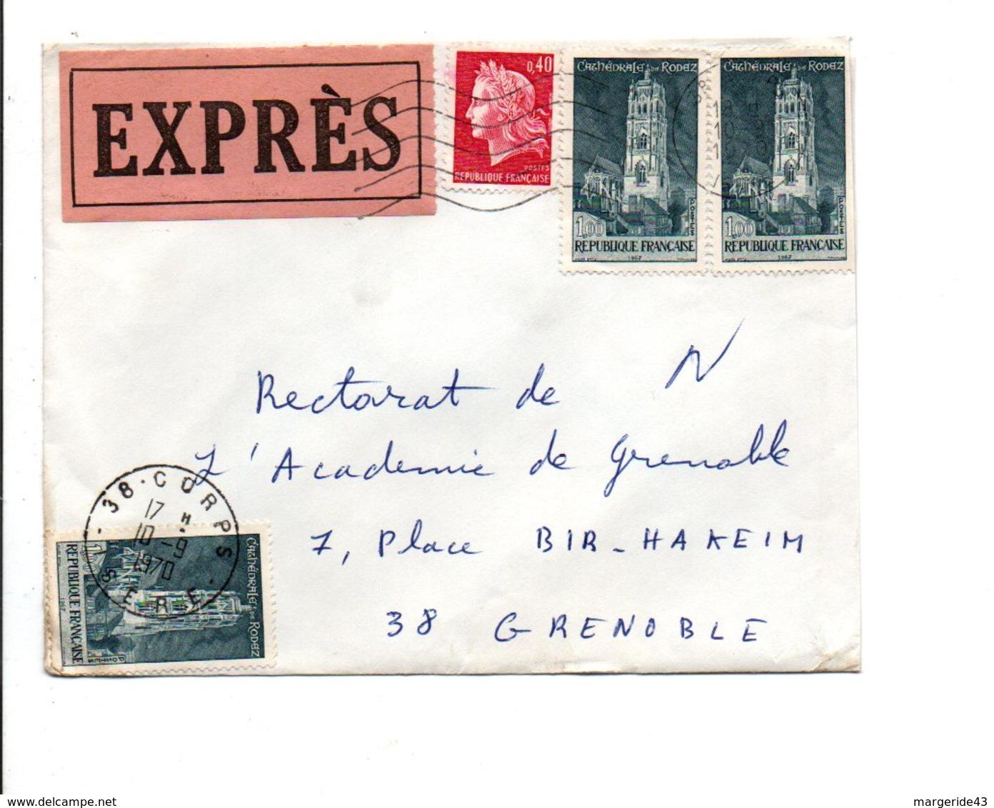 AFFRANCHISSEMENT COMPOSE SUR LETTRE EXPRES DE CORPS ISERE 1970 - Storia Postale