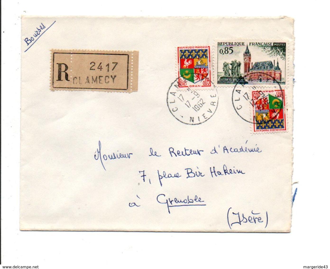 AFFRANCHISSEMENT COMPOSE SUR LETTRE RECOMMANDEE DE CLAMECY NIEVRE 1962 - 1961-....