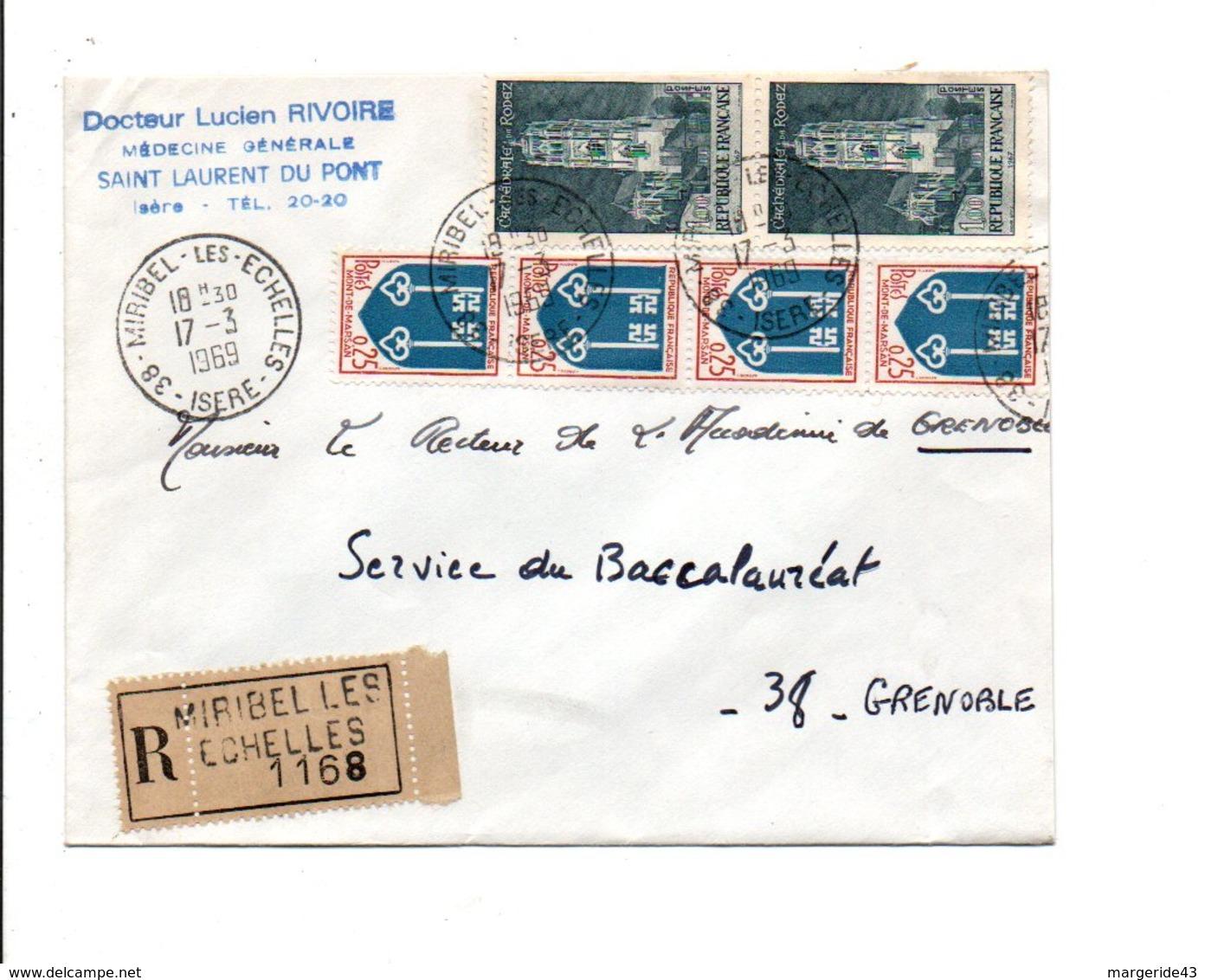 AFFRANCHISSEMENT COMPOSE SUR LETTRE RECOMMANDEE DE MIRIBEL LES ECHELLES ISERE 1969 - Storia Postale