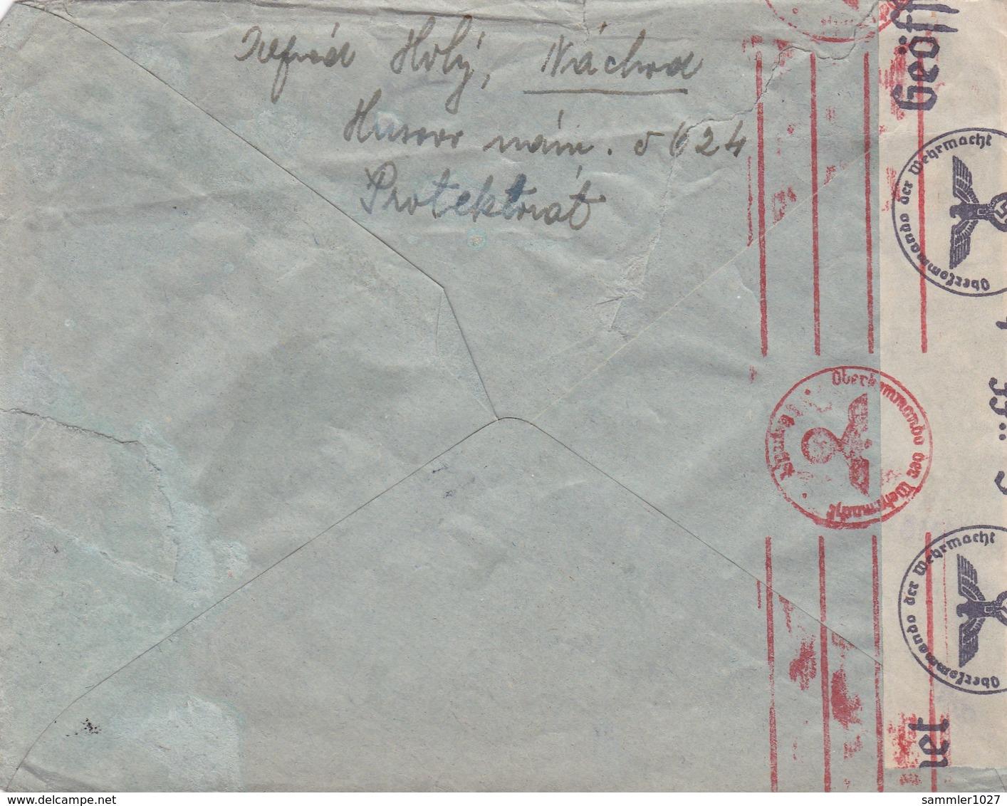 Böhmen Und Mähren - Brief Aus Nachod 1941, Etwas Lediert - Bohemia & Moravia