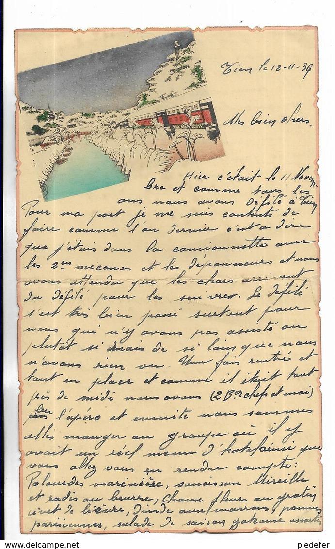 CHINE - Lettre Correspondance écrite De  TIENTSIN   Le 12/01/1936 - Belle Illustration En Début De Page - Historical Documents