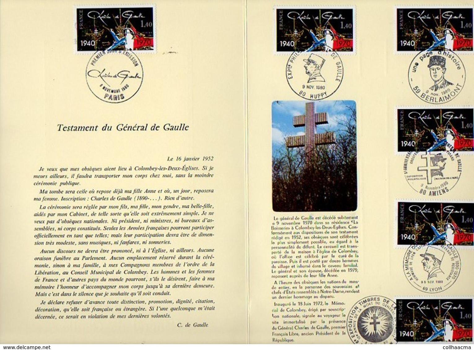 1980 Mort Général De Gaulle,Testament / Encart Militaria / Cachet Paris,Huppy,Berlaimont,Amiens,Lyon,Lille Sur N° 2114 - De Gaulle (Général)