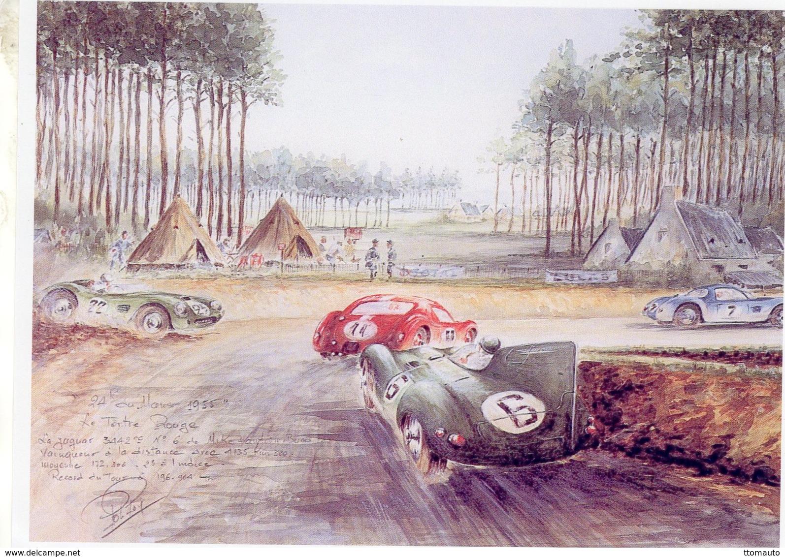 24 Heures Du Mans 1955 -  Virage Tertre Rouge - Jaguar D  - Pilote: Mike Hawthorn - Aquarelle Rob Roy - Carte 190x140mms - Le Mans