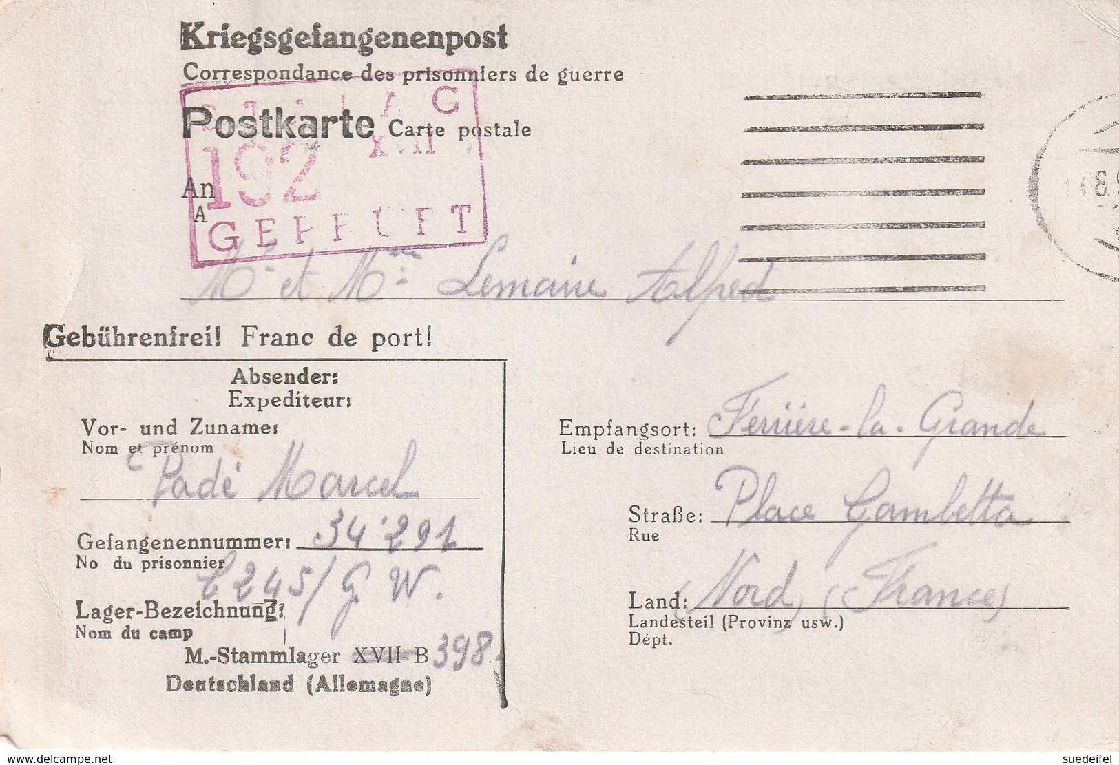 Correspondance De Prisonniers De Guerre Stalag  398 (XVII B) Krems Apres Ferrier-la-Grande (Nord) - Postmark Collection (Covers)