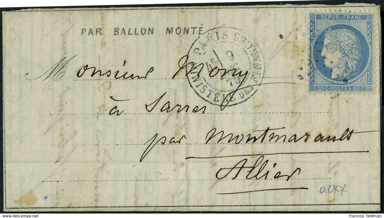 Lettre LE GENERAL RENAULT, Dépêche Ballon N° 13, Départ Paris Ministère Des Finances 9.12.70 4ème Levée Pour Montmarault - Stamps