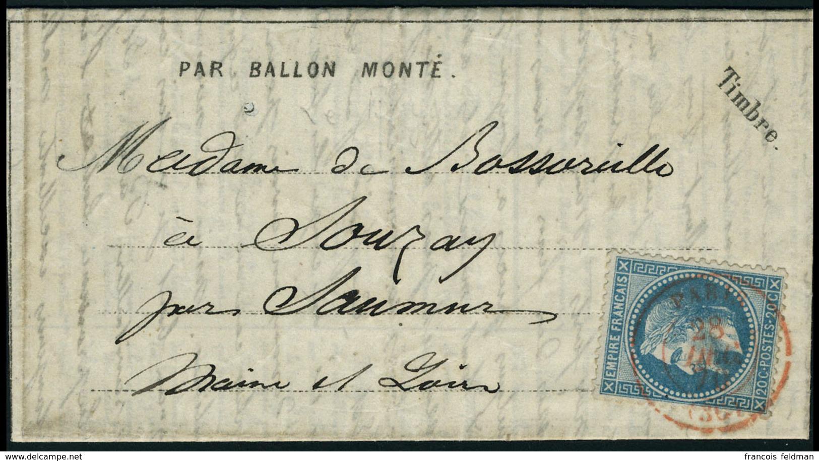 LE BAYARD,  Dépèche Ballon N° 18, Paris, SC En Rouge 28 Déc 70 Pour Souray Maine Et Loire, Au Verso Transit De Saumur 2. - Stamps