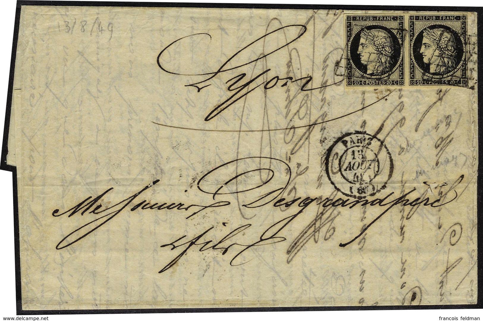 Lettre N° 3, 20c Noir Sur Jaune, Paire Hor. Sur L. Grille + Càd Paris 13 Août 49, Pour Lyon Arrivée 15 Août 49, T.B. - Stamps