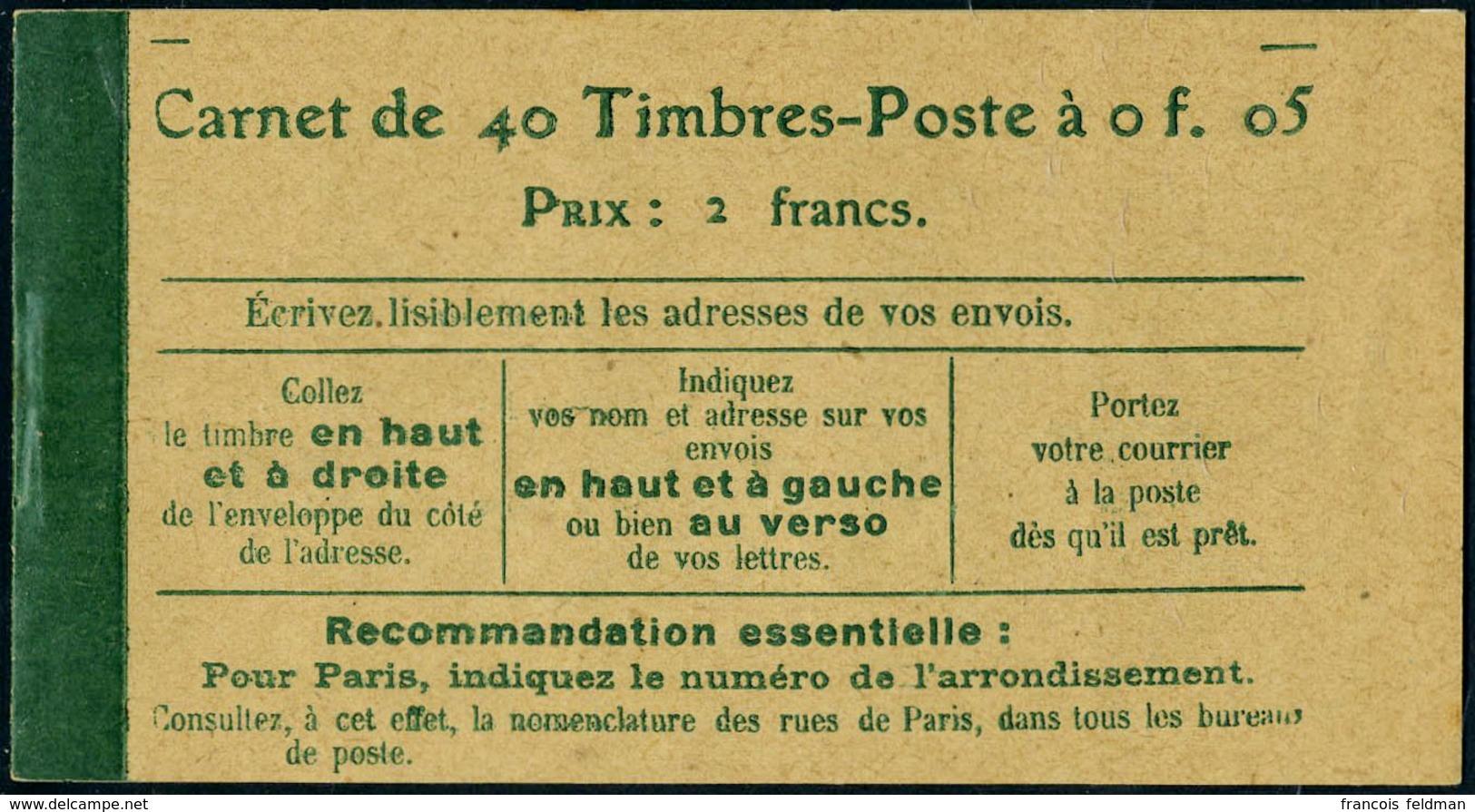 Neuf Sans Charnière N° 137-C9, 5c Semeuse, Carnet De 40t. Avec En 2ème Page De Couverture : Loi Du 29 Mars 1920, TB - Non Classés