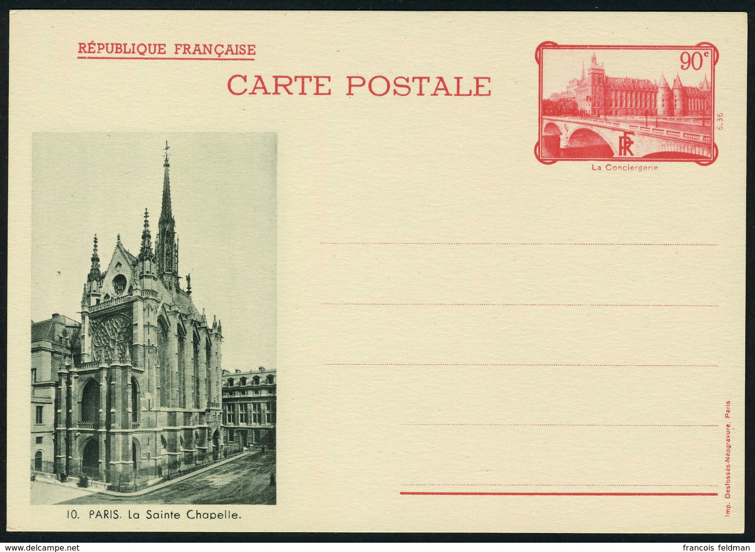 Lettre N° 4, Entiers à Type Spéciaux N° 4, La Conciergerie Avec République Française, Les 5 Vues Différentes En Vert, Av - Postzegels