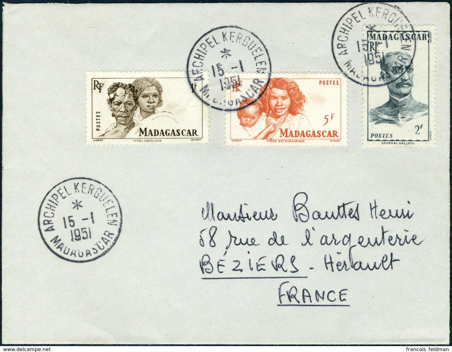 Lettre 3 Valeurs Madagascar S/L Obl Archipel Kerguelen 15.1.51 Pour Béziers, Au Verso St Paul Et Amsterdam 26.1.51, TB - Stamps
