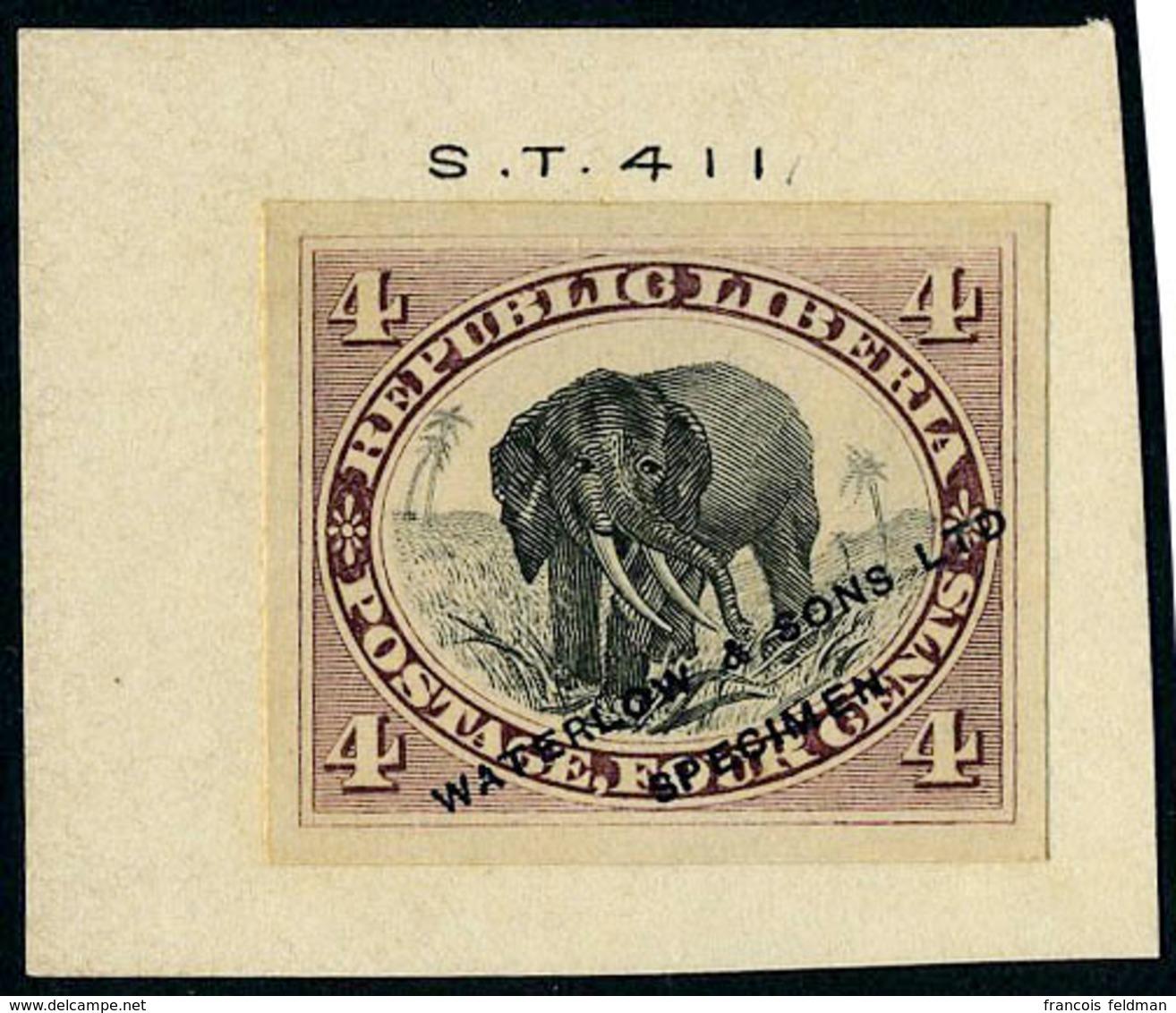 N° 28, 4c éléphant épreuve Lie De Vin Et Noir ND Sur Bristol Waterlow ... Spécimen, T.B. Rare - Stamps
