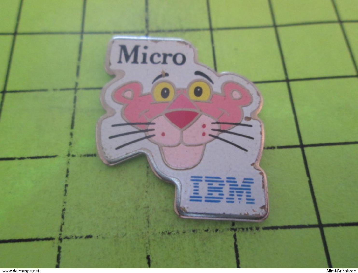 413e Pin's Pins / Beau Et Rare : THEME : INFORMATIQUE / PANTHERE ROSE MICRO IBM - Informatique