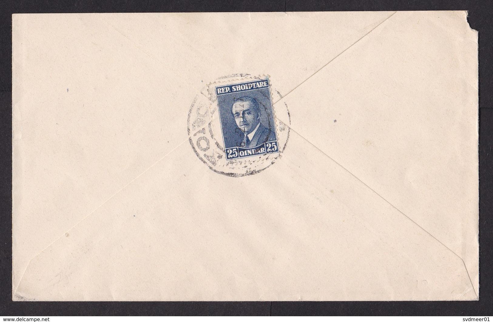 Albania: Cover To USA, 1927, 1 Stamp, Cancel Korce, Rare (minor Damage, See Scan) - Albanië