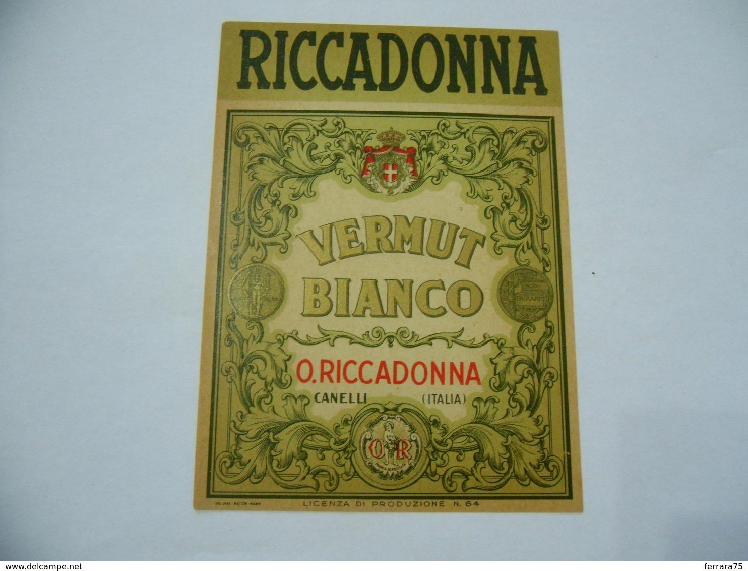 ETICHETTA PUBBLICITARIA RICCADONNA VERMUTH BIANCO CANELLI. - Alcolici
