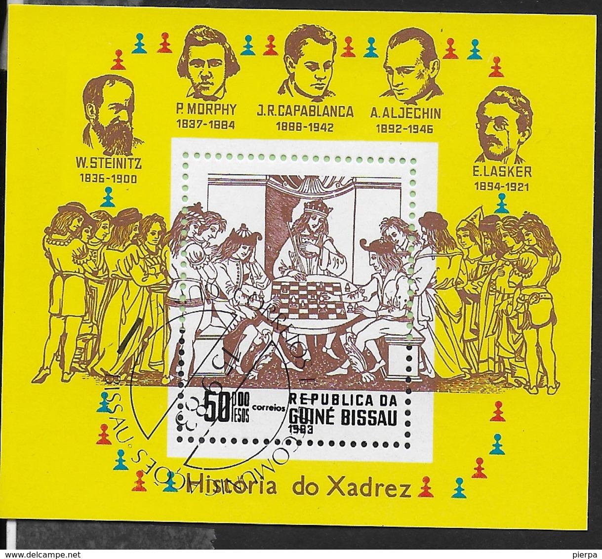 GUINEA BISSAU - STORIA DEGLI SCACCHI 1983 - FOGLIETTO USATO ( YVERT BL 39 - MICHEL BL 250) - Scacchi