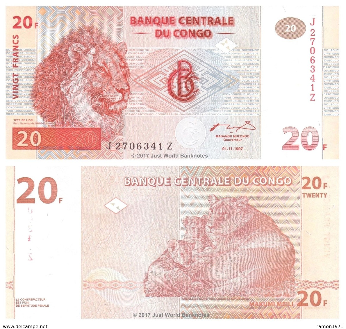 Congo 20 Francs 1997 UNC - Republic Of Congo (Congo-Brazzaville)