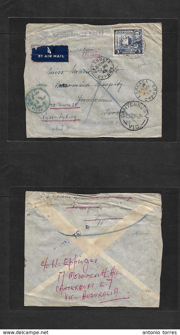 Bc - Cyprus. 1948 (10 Aug) Famagusta - Israel, Jerusalem - Australia, Ryde, Sydney, NSW (4 May 49) Via Second Time. Fama - Non Classés